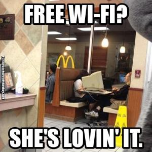 Free-Wi-Fi-Shes-Lovin-It-Funny-Lady-With-Huge-PC-Monitor-McDonalds